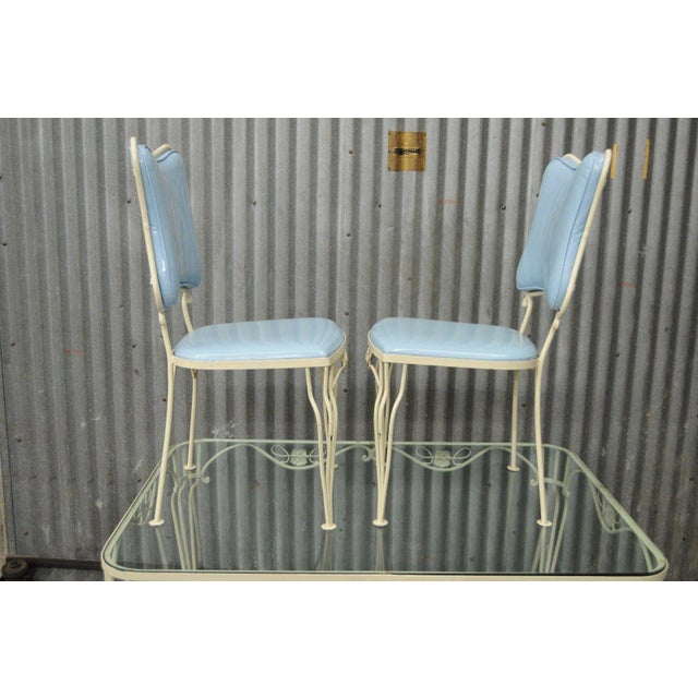 Vintage 5 Piece Blue Wrought Iron Patio Dining Set Table 4 Chairs Mid Century Woodard For Sale - Image 5 of 11