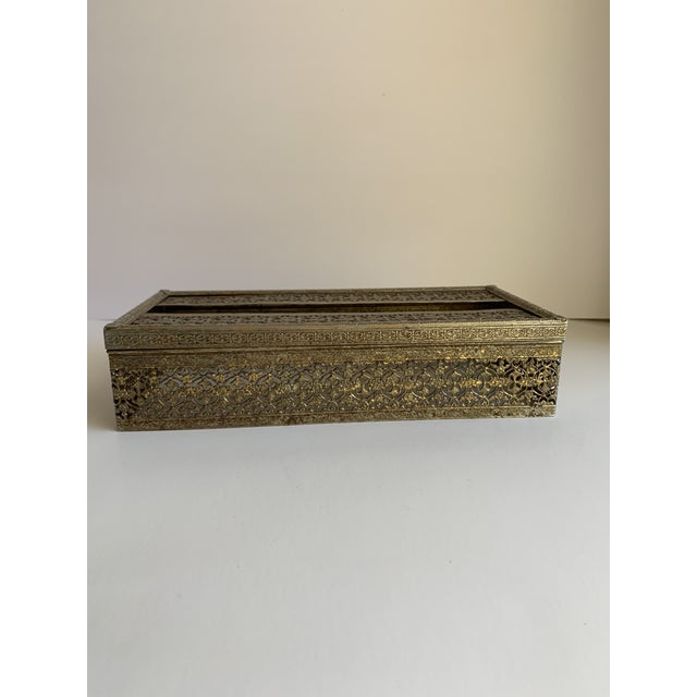 Midcentury Brass Decor Tissue Box For Sale - Image 9 of 12