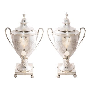 Mid 19th Century Vintage English Sheffield Plate Monumental Hot Water Urns- A Pair For Sale