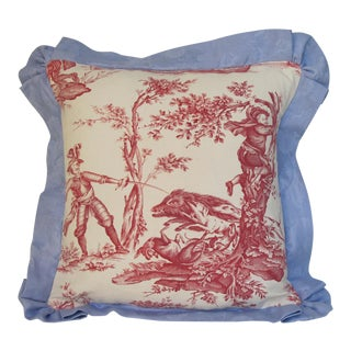 Antique 1880s Don Quixote Scene Toile Pillow For Sale