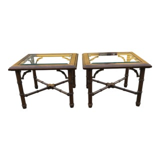 20th Century Hollywood Regency Lane Faux Bamboo Side Tables - a Pair For Sale