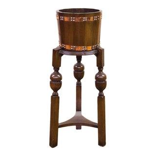 1910s English Oak Copper Bound Jardiniere with Bulbous Legs For Sale