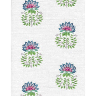 Ferran Gazania Fabric, 2 Yards, Sapphire in Linen/Cotton For Sale