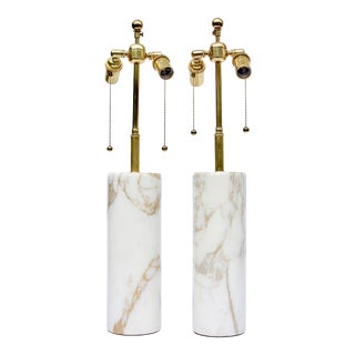 Pair of Italian Round Cylinder Marble Lamps For Sale
