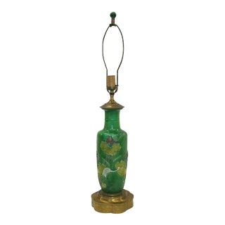 19th Century Chinese Susancai Glazed 'Lotus-Pond' Rouleau Vase Mounted as Lamp For Sale