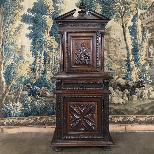 19th Century Louis XIII French Walnut Two-Tiered Cabinet For Sale - Image 13 of 13