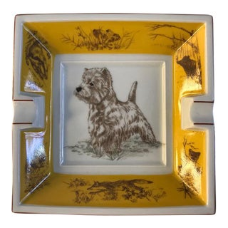 Vintage Hermes White West Highland Terrier Dog Ashtray For Sale