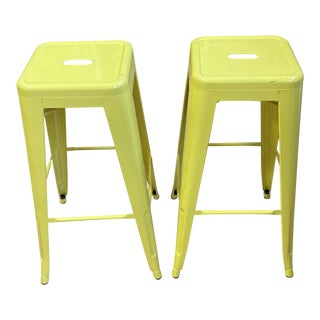 Crate & Barrel Yellow Bar Stools - a Pair For Sale