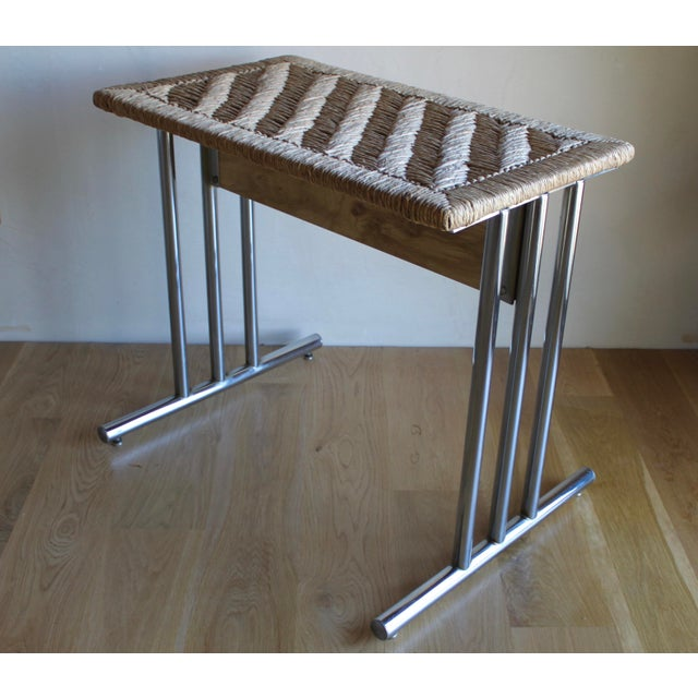 Gorgeous Mid Century Chromcraft dining table base made of heavy chrome frame with handwoven rush tabletop. Add the glass...