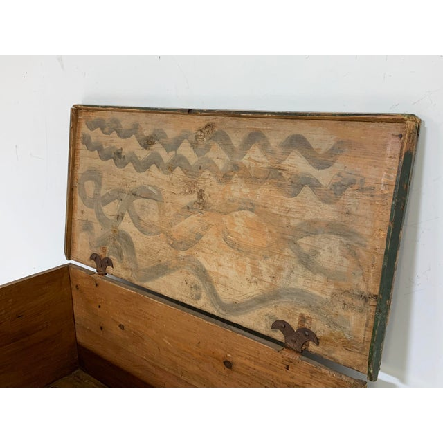 Mid 19th Century 19th C. Eastern European Antique Folk Art Painted Chest For Sale - Image 5 of 13