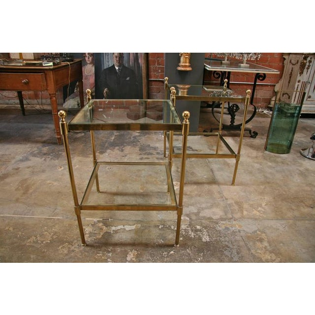 Brass Pair of Italian 1960s Two-Tier End Tables in Brass For Sale - Image 7 of 8