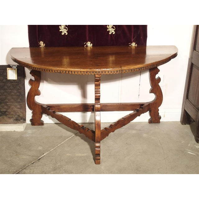 18th Century Italian Walnut Wood Demi Lune Console Table For Sale - Image 13 of 13