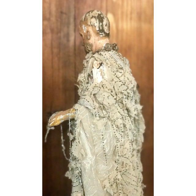Figurative Italian Santos Carved Wood Figure For Sale - Image 3 of 12