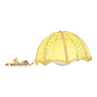 Vintage BoHo Yellow Wicker Ceiling Swag Light For Sale