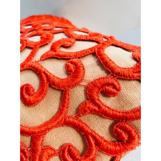 2010s Dransfield & Ross Orange Lace Scroll on Linen Decorative Pillow For Sale - Image 5 of 13