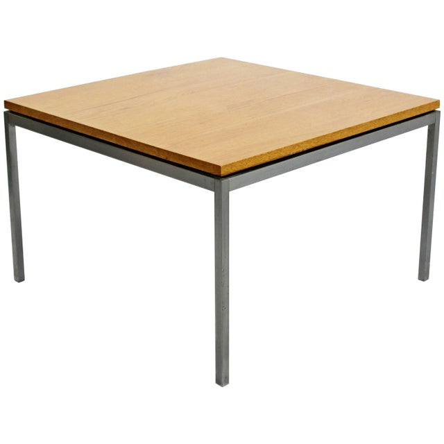 Mid-Century Modern Knoll Square Steel and Walnut Floating Coffee Table, 1950s For Sale - Image 9 of 9