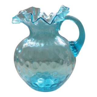 Antique Northwood Hand Blown Blue Coin Dot Pitcher With Blue Ribbed Handle For Sale