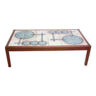 Vintage Teak and Ceramic Tile Top Coffee Table by Gangsø Møbler