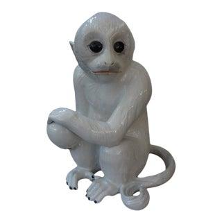 Vintage Italian Glazed Ceramic Monkey Sculpture For Sale