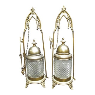 Italian Victorian EAPG Diamond Point Glass Pickle Castors - a Pair For Sale