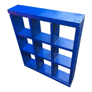 1930s Contemporary Wood Painted Blue Lacquer Wall Shelf For Sale