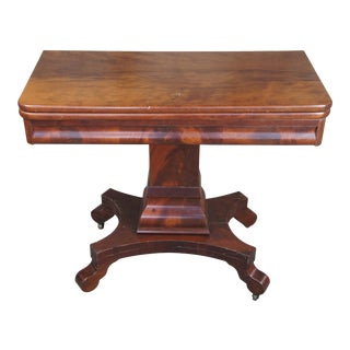 Antique American Empire Flame Mahogany Swivel Game Console Table For Sale