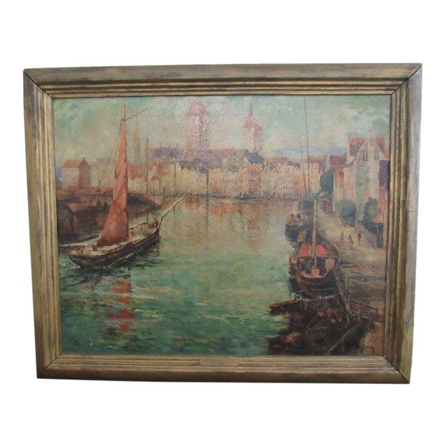 Joseph Sloman Antique Canal Scene Oil Painting - Image 1 of 8