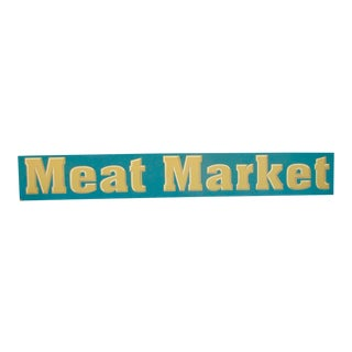 Vintage Wood Meat Market Sign For Sale