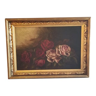 Early 20th Century Antique Gold Gilt Stenciled Frame Rose Painting For Sale