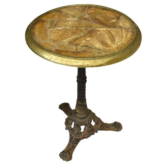 French Parisian Cast Iron Bistro Table With Stone Mosaic Top For Sale - Image 10 of 10