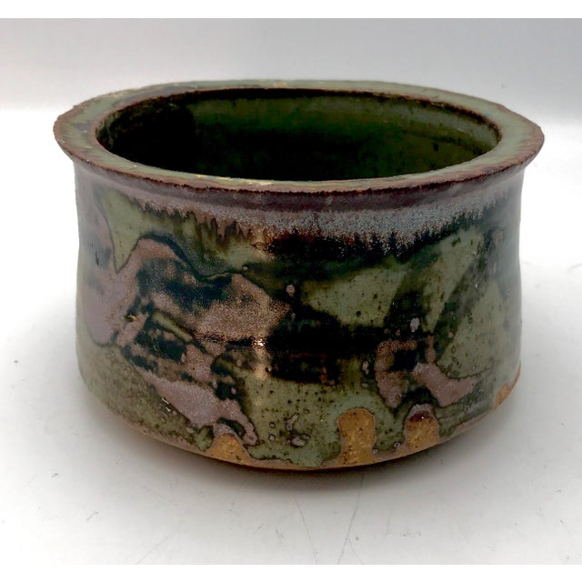 Stunning artist made studio pottery straight sided bowl or cachepot is made of dense red clay. Covered in multiple colors...