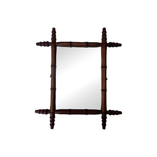 Antique French Bamboo Mirror For Sale
