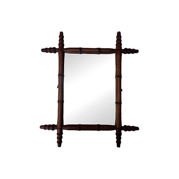 Antique French Bamboo Mirror - Image 1 of 4