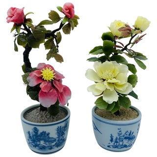 1970s Peony Jade Tree Sculptures in Blue and White Cachepots, Pair For Sale