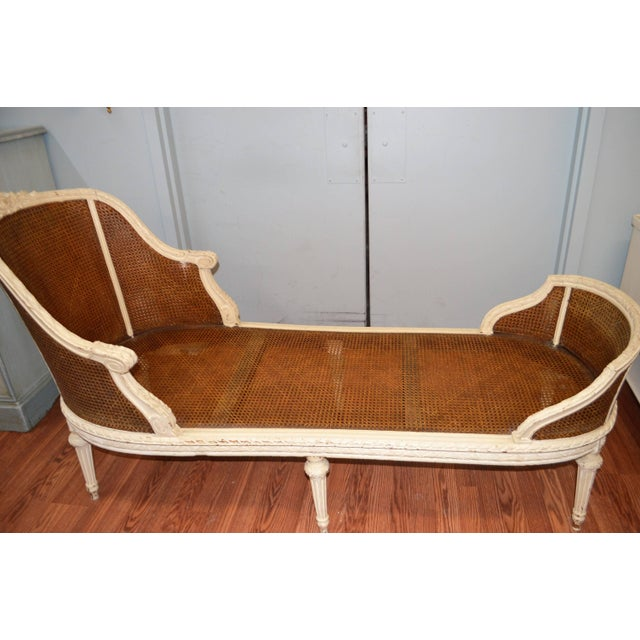19th Century Louis XVI Style Chaise Longue With Cane, Newly Upholstered. For Sale - Image 9 of 10
