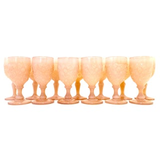 Mid-20th Century American Cut Glass Stem Drink Glasses - Set of 13 For Sale