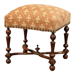 19th Century French Louis XIII Carved Walnut Stool For Sale
