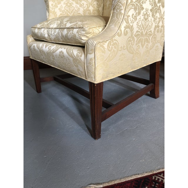 American Federal Style Yellow Jacquard Wingback Chair With Down Cushion For Sale - Image 11 of 13