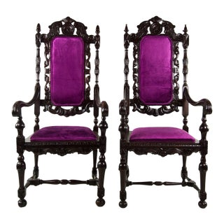 Italian Renaissance Style Throne Chairs - A Pair