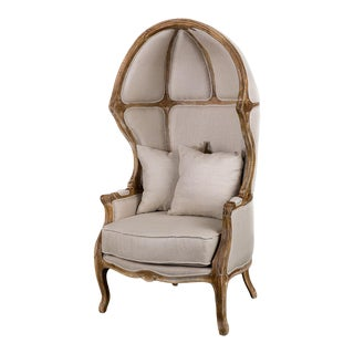 Ballon Chair in Beige Linen For Sale