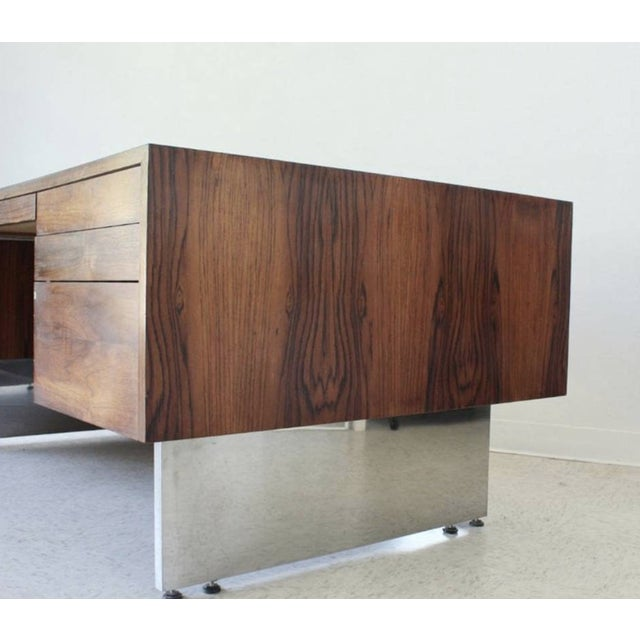 """Beautiful vintage Rosewood Desk with chrome base. Dimensions: 72""""W x 39.25""""D x 29.5""""H"""