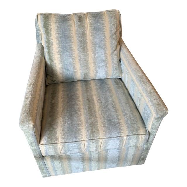 Brunschwig & Fils Bromo Velvet Upholstered Swivel Chair For Sale