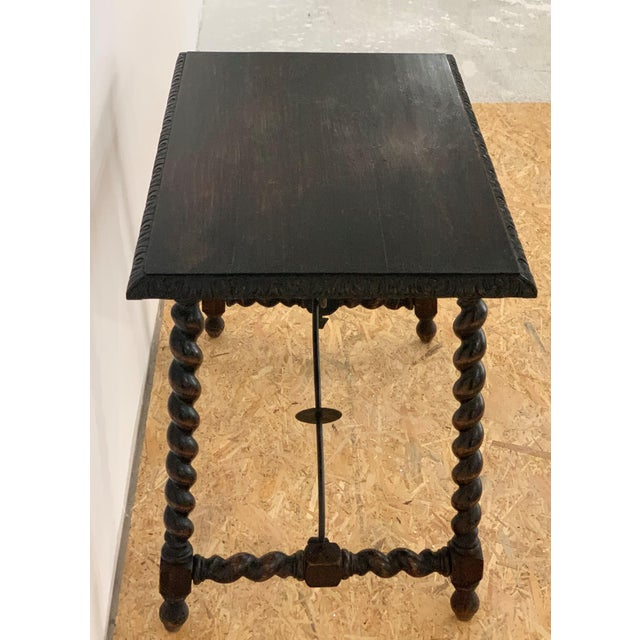 19th Century Salomonic Baroque Side Table With Carved Top and Iron Stretchers For Sale In Miami - Image 6 of 11