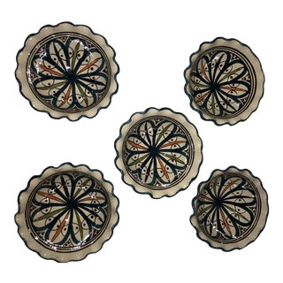 Set of 5 Mini Moroccan Handpainted Teal Bowls