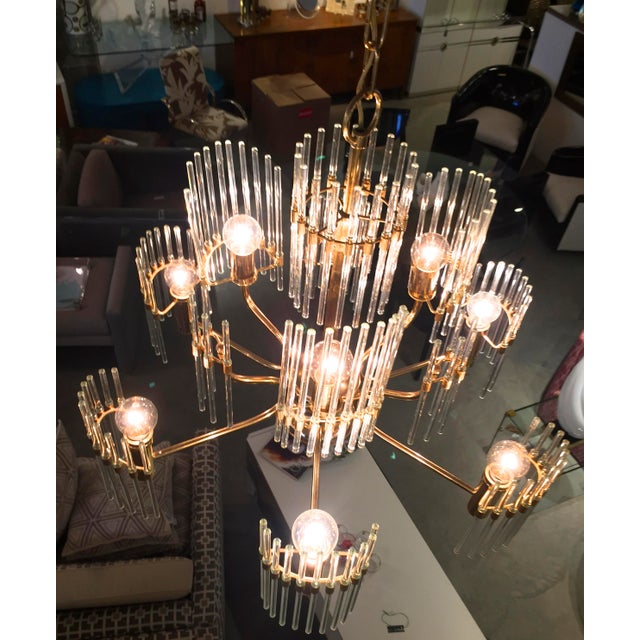 Sciolari Crystal Rod and Brass Chandelier - Image 5 of 7