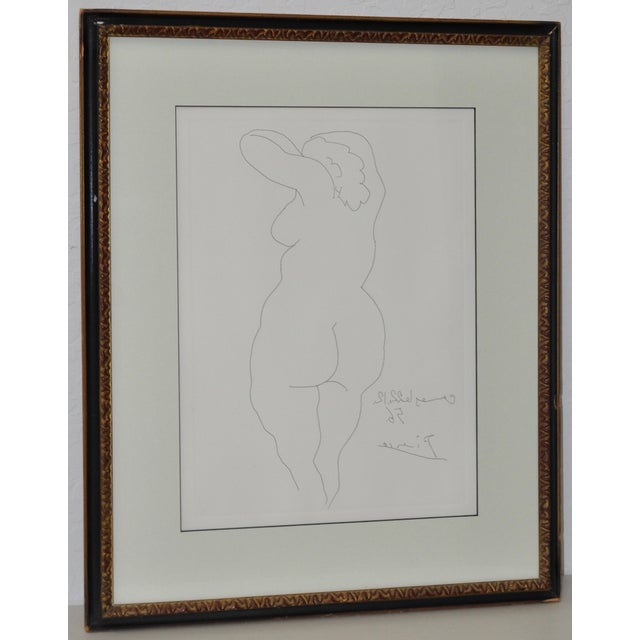 "Picasso ""Nu De Dos"" reverse etching, circa 1956. Reverse etching of a fine line drawing a nude woman's back. Dated 1956 in..."