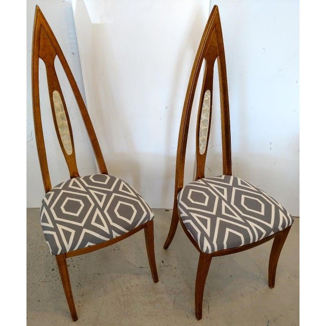 These are a beautiful pair of Space Age, cathedral arch-backed side chairs. The chair back have an oval inset of inlaid...