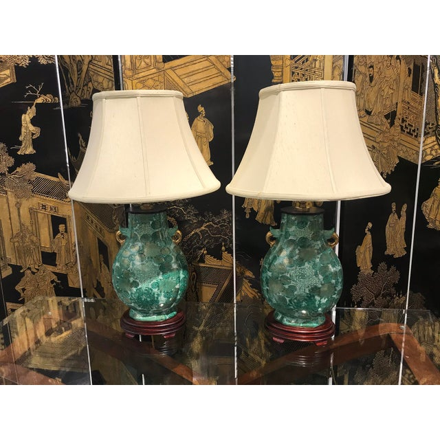 Wood Chinoiserie Green Lamps - a Pair For Sale - Image 7 of 7