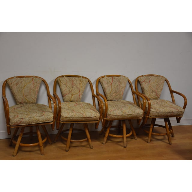 Bamboo Swivel Dining Chairs - Set of 4 - Image 2 of 11