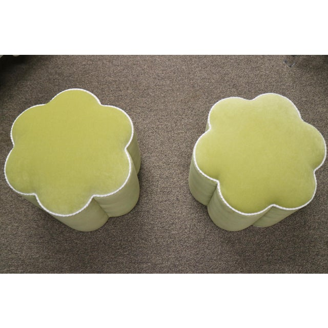 Chartreuse Custom Ottoman's, a Pair - Image 3 of 9